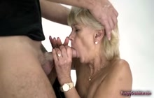 Horny blonde granny enjoying hardcore plowing