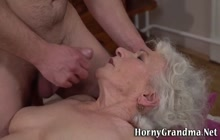Grey haired granny gets bush licked