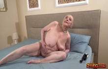 Granny with gigantic tits enjoying creampie sex
