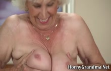 Busty grandma gets fingered