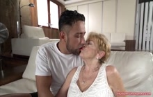 Cock Spooning Granny Loves a Big Cock in Her Pussy