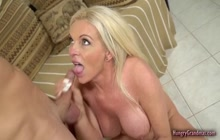 Blonde granny enjoying sex with a big cock
