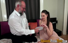 Teen gets jizzed by oldy after blowjob